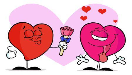 smooch: Rosa coraz�n femenino Swooning mientras que un coraz�n masculino Puckers Y da sus Roses
