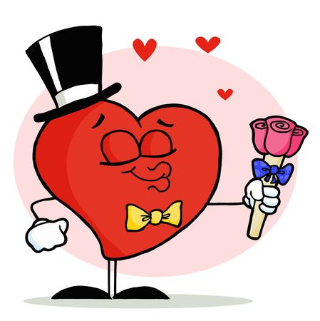 Gentleman Heart In A Hat And Bow Tie, Holding Out Pink Roses And Puckering His Lips Vector