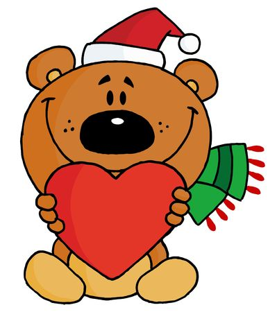 Sweet Christmas Teddy Bear Holding A Red Heart And Wearing A Santa Hat Vector