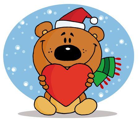 tierno: Oferta de oso de Navidad, holding de un coraz�n rojo y Wearing A Hat de Santa en la nieve