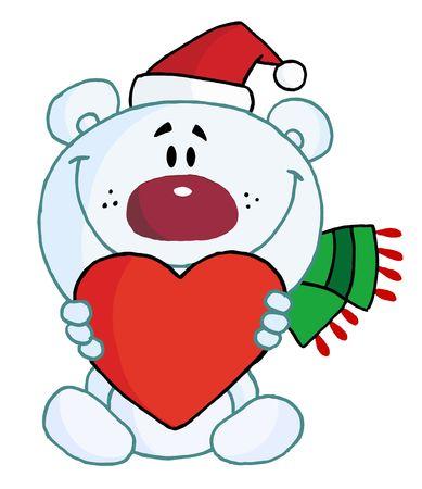 Sweet Christmas Polar Bear Holding A Heart Illustration