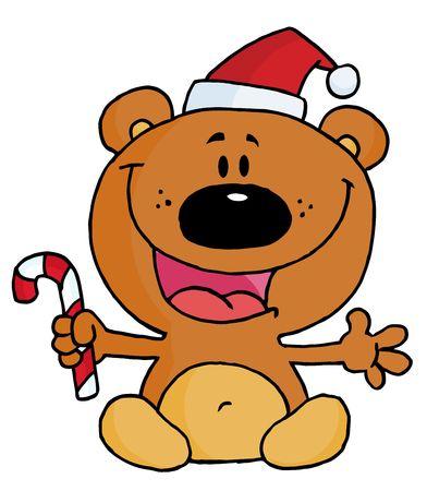 christmas icon:  Christmas Teddy Bear Holding A Candy Cane Illustration