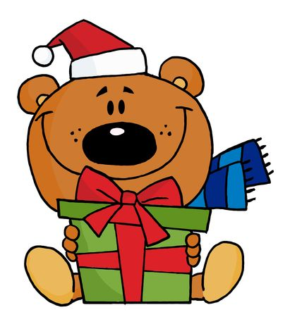 stock clipart icons: Christmas Bear Holding A Present