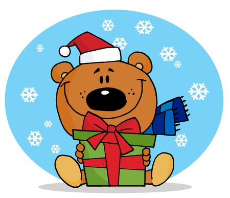 christmas snow: Christmas Bear Holding A Present In The Snow Illustration
