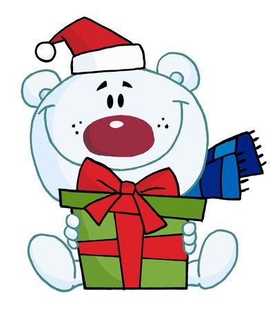 Christmas Polar Bear Holding A Gift Иллюстрация