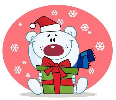 Giving Christmas Polar Bear Holding A Gift Ilustração