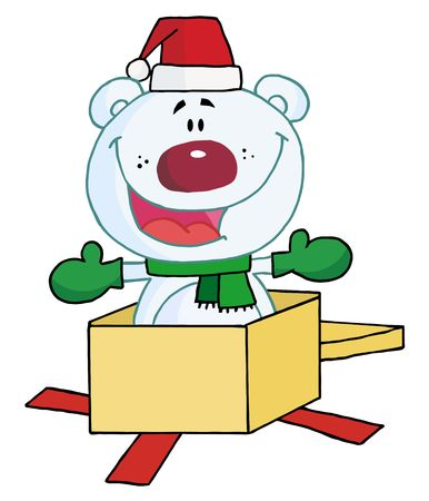 drawings image: Christmas Polar Bear Popping Out Of A Gift Box