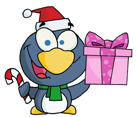 drawings image: Thoughtful Christmas Penguin Holding A Present And Candy Cane Illustration
