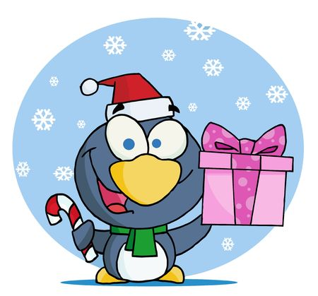Giving Christmas Penguin Holding A Present And Candy Cane In The Snow Vector