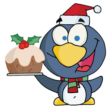 Happy Christmas Penguin Holding Christmas Pudding Stock Vector - 6906030
