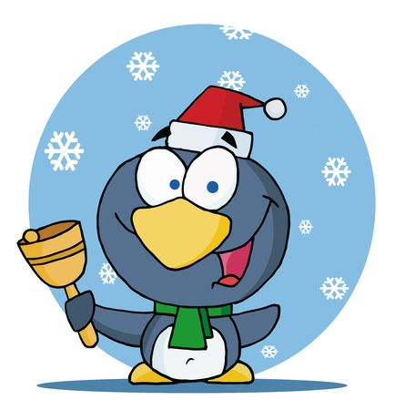 christmas icon: Charitable Christmas Penguin Bell Ringer In The Snow