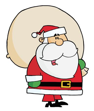 clip art santa claus: Joyous Kris Kringle Carrying A Toy Sack