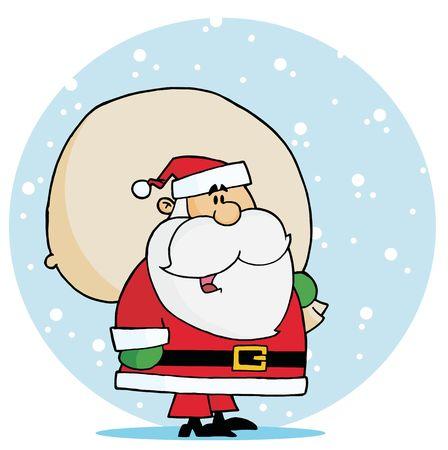 saint nick: Jolly Kris Kringle, che trasportano un sacco di giocattolo nella neve