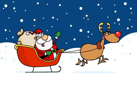 kris kringle: Rudolph Taking Off With Kris Kringle In His Sleigh In The Snow