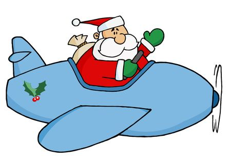 Waving Kris Kringle Flying His Christmas Plane Vector