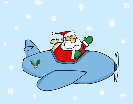 Waving Pilot Santa Flying His Christmas Plane In The Snow Vector