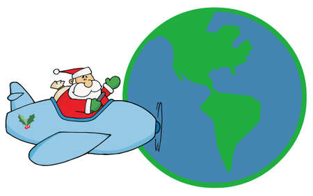 Waving Father Christmas Flying His Plane Around The Globe Vector