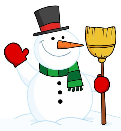 wintry: Joyous Snowman Holding A Broom And Waving Illustration