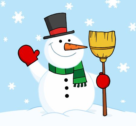frosty the snowman: Friendly Snowman Holding A Broom And Waving In The Snow Illustration