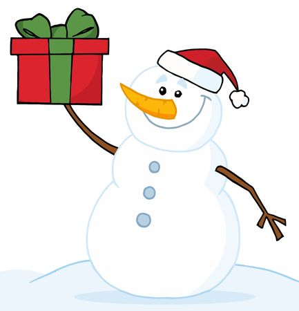 Jolly Snowman Holding A Christmas Present Stock Vector - 6905588