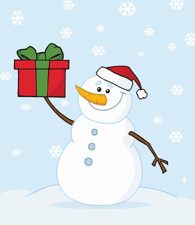 Joyous Snowman Holding A Christmas Present In The Snow Vector