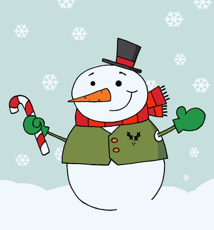 Jolly Snowman Holding A Candy Cane In The Snow Vector