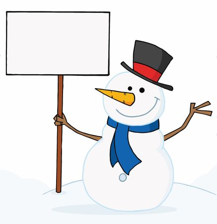 the snowman: Joyous Snowman Holding A Blank Sign On A Hill