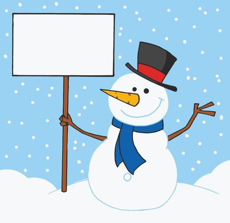 Jolly Snowman Holding A Blank Sign In The Snow