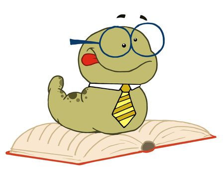 Knowledgeable Old Worm Wearing A Tie And Glasses, Resting On An Open Book Stock Vector - 6905906