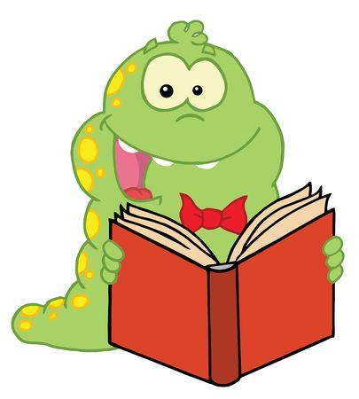 Glücklich Yellow Spotted grüne Raupe, ein gutes Buch lesen  Standard-Bild - 6905991