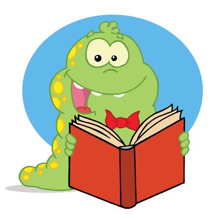 book worm: Excited Green Caterpillar With Yellow Spots, Reading An Entertaining Book