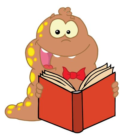 Energetic Brown And Red Spotted Worm Reading A Book Vector