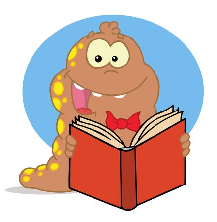 Happy Brown And Red Spotted Worm Reading A Book Vector