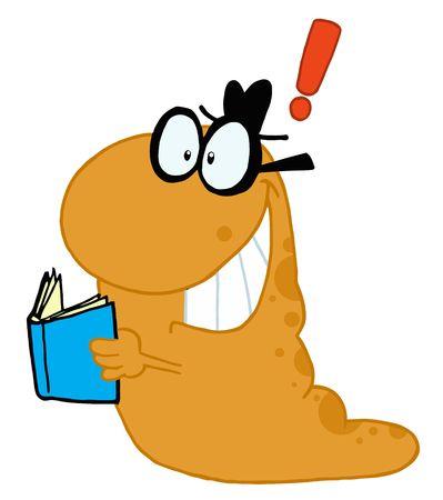 Creatieve oranje Worm met een gedachte, een blauwe boek houden