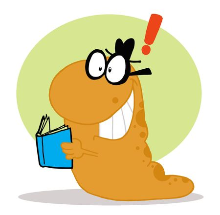 Smart Orange Worm With An Idea, Reading A Blue Book Vector