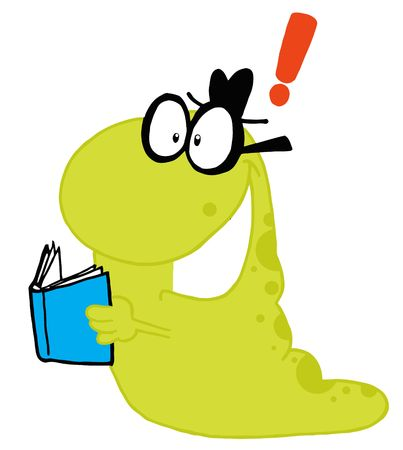 idea cartoon: Green Worm Reading A Blue Book, Getting An Idea, Expressed As An Exclamation Point