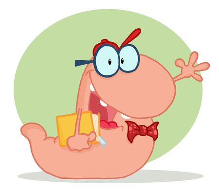 Friendly Pink School Worm Student Waving And Carrying A Book, With A Green Circle And Shadow Vector