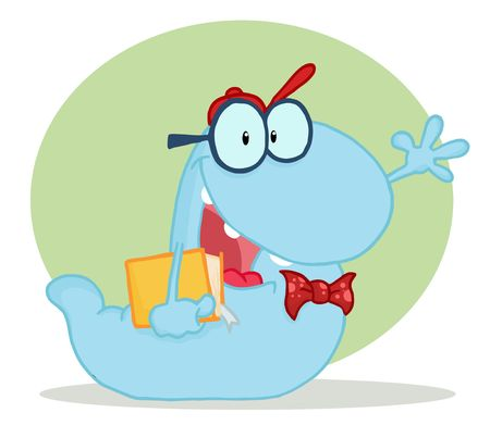 Friendly Blue School Worm Student Waving And Carrying A Book, With A Green Circle And Shadow Vector