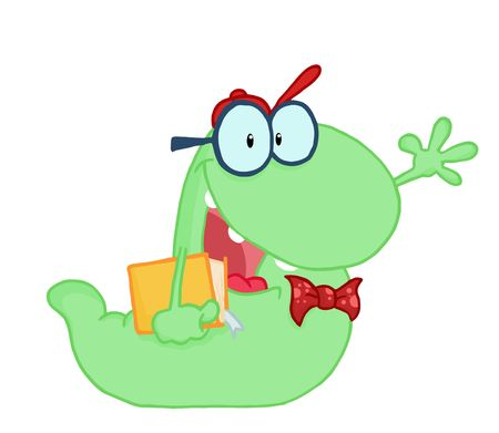 Waving Green Worm Student Carrying A Book Vector