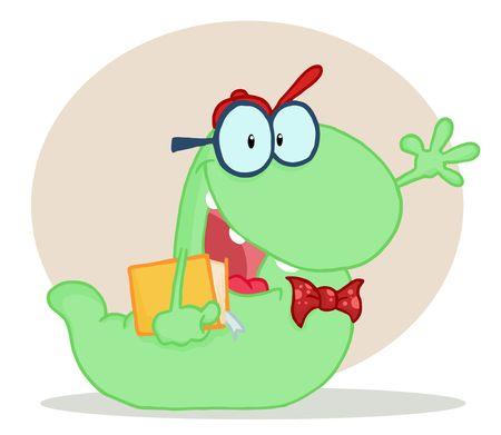Friendly Green School Worm Student Waving And Carrying A Book, With A Beige Circle And Shadow Vector