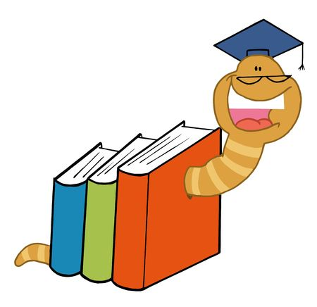 book worm: Successful Worm Graduate Crawling Through Colorful Books