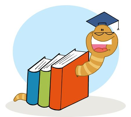 educational: Happy Worm Graduate Crawling Through Colorful Books Illustration