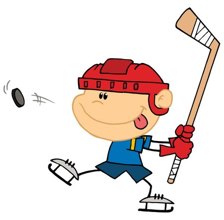 Sporty Caucasian Boy Preparing To Whack A Hockey Puck Stock Vector - 6906005