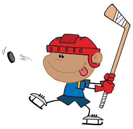 Boy Sticking His Tongue Out And Hitting A Hockey Puc Vector