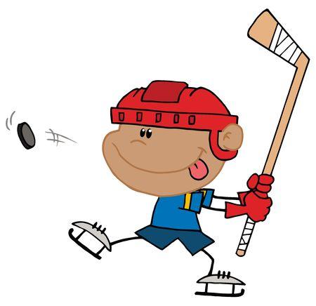 Garçon bâton sa langue de sortie et en A pUC hockey  Banque d'images - 6905992