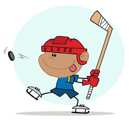 whack: Athletic Hispanic Boy Preparing To Whack A Hockey Puck Illustration
