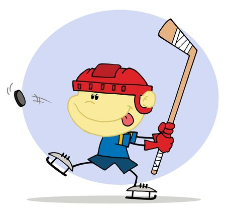 stock clip art icon: Happy Caucasian Boy Playing Hockey
