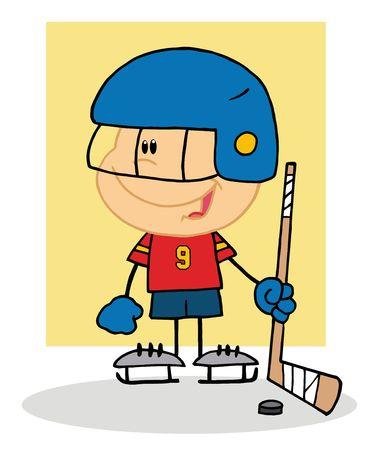 Happy Boy Playing Hockey Goalie Vector