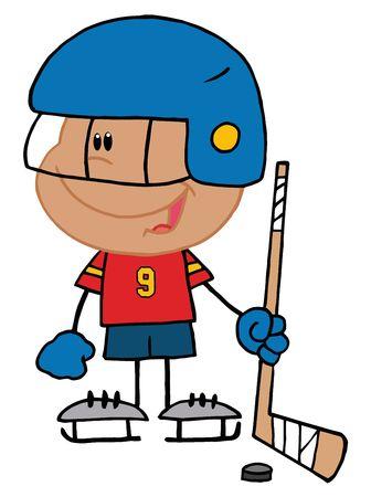 ice hockey player:   Hispanic Boy Playing A Hockey Goalie
