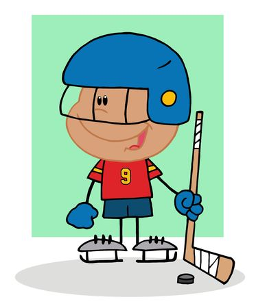 Happy Hispanic Boy Playing Hockey Goalie Vector